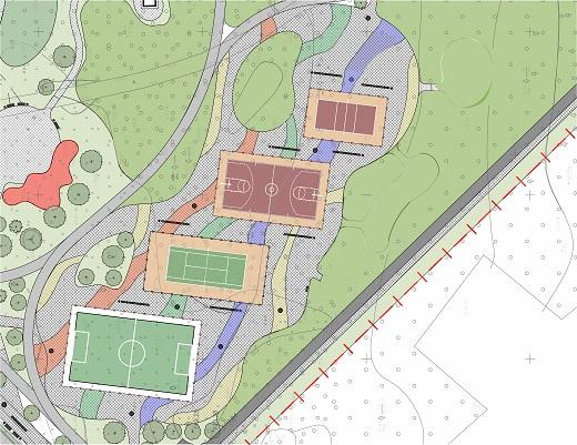 Начало работ по строительству волейбольной и баскетбольной спортивных площадок в Парке им. 950-летия